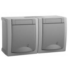 Розетка с заземлением+розетка с заземлением серый наружная WPTC48002GR-BY Panasonic PACIFIC IP54