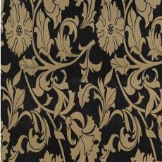 Пленка самоклеящаяся HONGDA 0,45х8м золотые цветы на черном фоне 8407