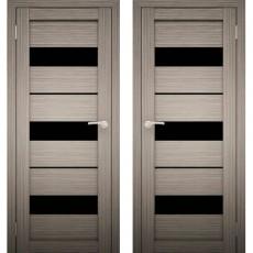 Дверное полотно АМАТИ-12 Дуб дымчатый Экошпон ПО-800 Черное стекло