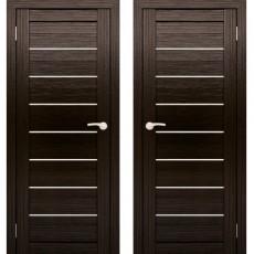 Дверное полотно АМАТИ-01 Венге Экошон ПО-600 Белое стекло