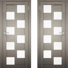 Дверное полотно АМАТИ-13 дуб дымчатый экошпон ПО-700 белое стекло