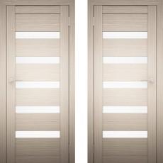 Дверное полотно АМАТИ-03 дуб беленый экошпон ПО-700 белое стекло