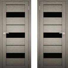 Дверное полотно АМАТИ-12 Дуб дымчатый экошпон ПО-700 черное стело