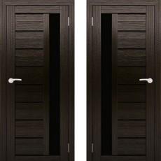 Дверное полотно АМАТИ-04 венге экошон ПО-700 черное стекло