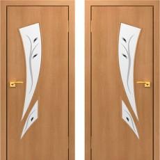 Дверное полотно остекленное с фьюзингом С-02 Миланский орех ПОФ-600