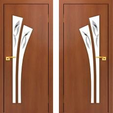 Дверное полотно остекленное С-07 Итальянский орех с фьюзингом ПО-600