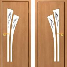 Дверное полотно остекленное с фьюзингом С-07 Миланский орех ПОФ-600