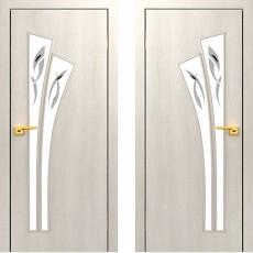 Дверное полотно остекленное С-07 Дуб беленый ПОФ-600