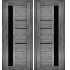 Дверное полотно АМАТИ-04 (Дуб шале-графит) ПО-700 чёрное стекло
