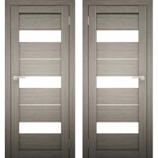 Дверное полотно АМАТИ-12 дуб дымчатый экошпон ПО-700 белое стекло