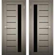 Дверное полотно АМАТИ-04 дуб дымчатый ПО-700 черное стекло