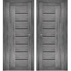 Дверное полотно АМАТИ-07 дуб шале-графит экошпон ПО-700 белое стекло