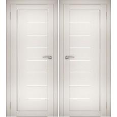 Дверное полотно АМАТИ-07 эшвайт экошпон ПО-700 белое стекло