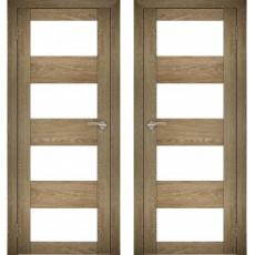 Дверное полотно АМАТИ-02 дуб шале-натуральный экошпон ПО-700 белое стекло