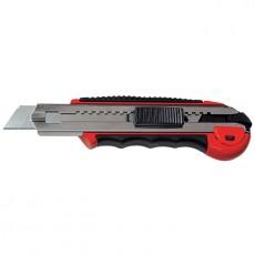 Нож 18 мм, выдвижное лезвие, металическая направляющая, обрезиненная ручка + 5 лезвий Matrix 78921