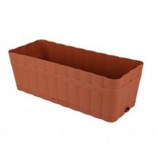 Ящик для цветов Изюминка с поддоном 12л коричневый  М3355